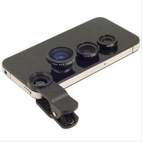 Universal Fish-eye Wide-angle Macro 3 in 1 Clip Lens For iphone Samsung HTC Mobile Phone Free Shipping