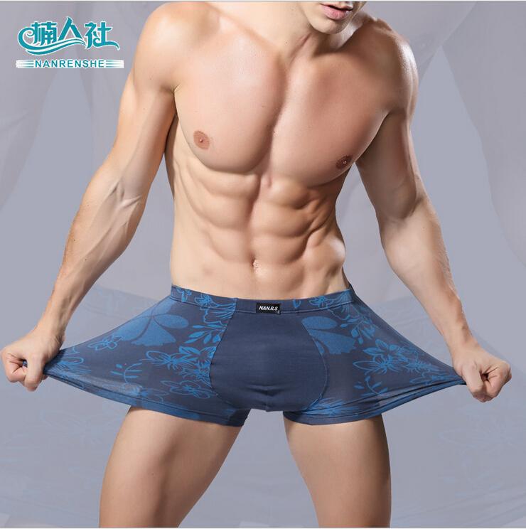 Soft breathable Bamboo fiber Men Underwear U convex corner men's modal Flower printed pants Boxers Shorts wholesale(China (Mainland))