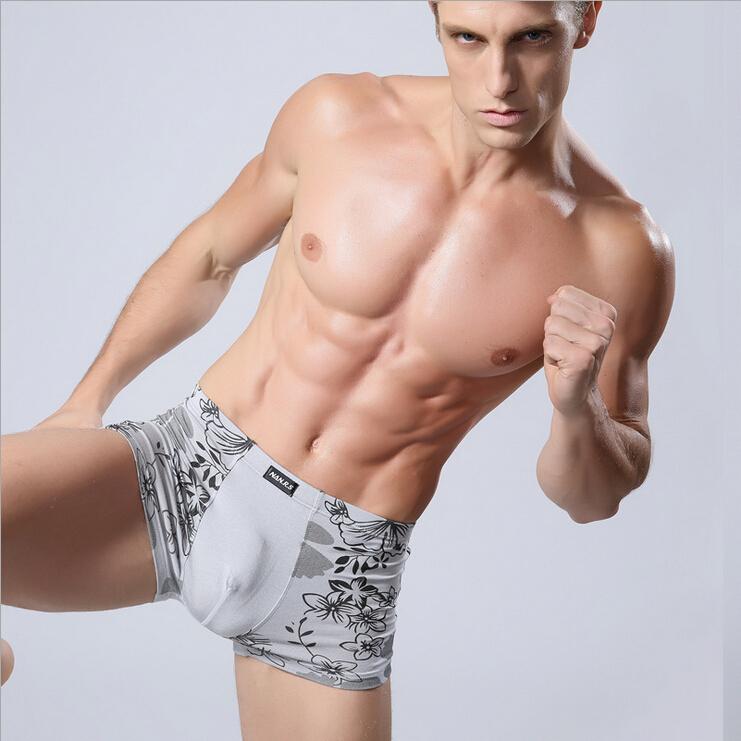 Soft breathable Bamboo fiber Men Underwear U convex corner men s modal Flower printed pants Boxers