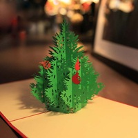 Handmade Creative Kirigami & Origami 3D Pop UP Greeting & Gift Christmas Cards with Christmas Tree Free Shipping (set of 10)