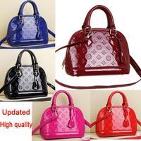 Updated Top quality venis embossed patent leather alma woman bag fake designer handbags ladies shoulder bag shell fashion bag