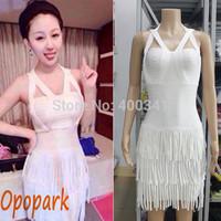 Women's 2014 sexy celebrity bandage dress halter stripes tassel back zip cocktail clubwear homecoming dress drop shipping HL345