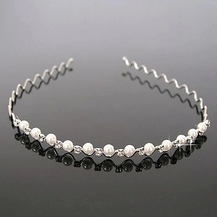 Simple Pearl Diamond Silver Fine Wavy Hair Hoop Headband Hair Bands For Women Hair Accessories OH0149(China (Mainland))