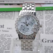 Luxury Brand Crystal Stainless Steel Quartz Watch Women Ladies Butterfly Rose Gold Silver Fashion Dress Wristwatch Y50*MHM532#S7