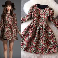 New arrival 2014 winter women's vintage print jacquard wrist-length sleeve one-piece dress