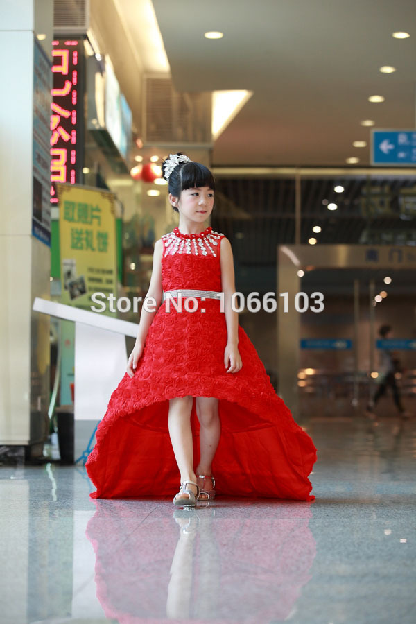 Red and yellow hi lo wedding dress ball gown for kids performance