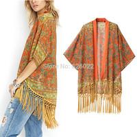 2014 NEW Women's Vintage Flower Floral Print Tassel Hem Loose Kimono Bat sleeve Cardigan Shirts No button Blouses Tops Shawl