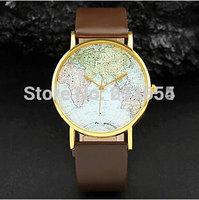 Free shipping new world earth map watches 1pcs/lot quartz steampunk style watch men womens pu leather band wristwatch wholesale