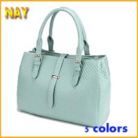 Fashion European&American Style Vintage Handbag Shoulder Tote Bag Woven Plaid Pattern Purse Women Genuine Leather