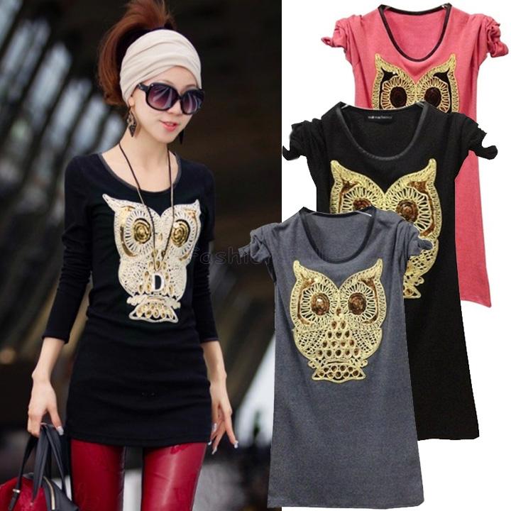 moda únicas novo 2014 camisa de manga longa roupas femininas bonito dos desenhos animados padrão de coruja misturas p18465 casual tops senhoras(China (Mainland))