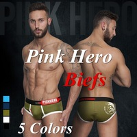 Pink Hero sexy underwear men cueca men cotton shorts brand briefs 5PC/lot pull in 5 colors M-XXL New Arrival Freeshipping 1224