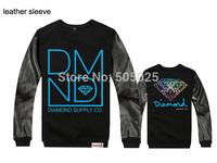 billionaire boys club moleton diamond supply co pullover men leather sleeve sweatshirt  sudaderas hombre
