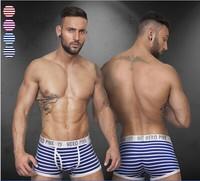 Pink Hero Sexy Striped Boxers Underwear Men Cueca Men Boxer Homme Shorts Cotton 4PC/lot Pull in 4Colors M.L.XL.XXL Wholesale1203