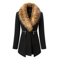 2015 winter women new fashion solid zipper slim long full high-end fashion fur collar single breasted wool coat