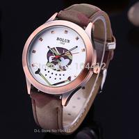 Army Green Leather Strap Military Watch Skull Design.Wristwatches Women Dress Watches Latest Design Luxury Brand