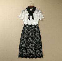 S-XXL High quality 2015 new runway fashion Brand bow patchwork turn down collar black white lace plus size one piece dress