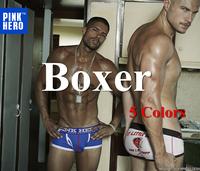 Pink Hero Sexy Print Boxers Underwear Men Cueca Men Calzoncillos Boxer Shorts Cotton 5PC/lot Pull in 5Colors M.L.XL.XXL New 1226