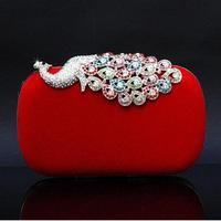 Women's handbag bag mini bag 2014 red bridal bag day clutch vintage peacock diamond chain bag