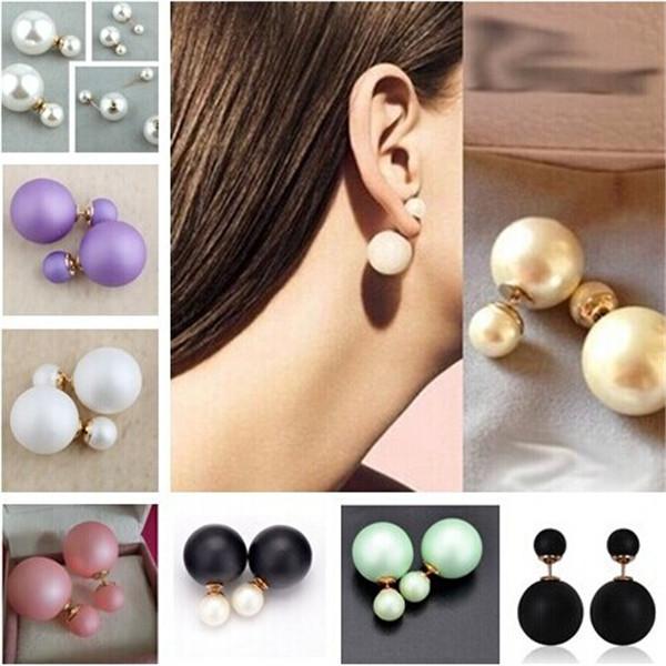 2014 New Fashion Celebrity Runway Double Pearl Beads Plug Bubble Earrings Ear Stud Earring 2 way wear(China (Mainland))