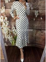 New 2015 spring women runway vintage fashion brand mermaid dot dress white black polka dots print long sleeve mid-calf dresses