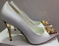 Fashion Patent leather Wedding pumps Medusa pointed toe high heel shoes Black/White/Pink/Yellow/beige OL pumps