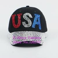 Hot Wholesale fashion baseball cap new design USA letter blue red clear rhinestone crystal women snapback caps snap back hats