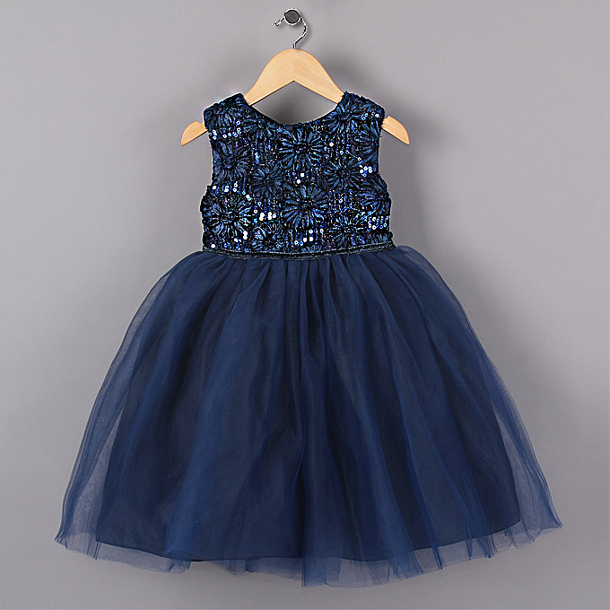 2015 New Blue Princess Girl Party Dresses Flower Sequined Tutu style Wedding Dress for Christmas girls clothes 3-7 years(China (Mainland))