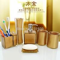 Free shipping 6pcs/set bath accessories new style resin bath set with toothbrush holder+cotton swab box+vast 4 colors FJ-6