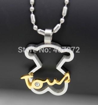 Новый 2014 мода женщины и мужчины медведь ожерелье медвежонок ожерелья любовь ожерелье с медведь подвески