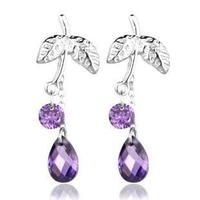 925 Sterling Silver Earrings for women Korean earring jewelry wholesale Amethyst leaf purple crystal earings