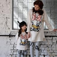 Hot sale 2014 New Fashion girls Daisy duck mascot sweatshirts mother&daughter sweatshirt solid long t-shirt 1 pc free shipping