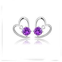 925 sterling silver heart-shaped earrings for women amethyst earring wholesale