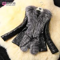 3XL !! 2014 winter Women Black Pu leather Fur jacket/long sleeve luxuries slim belt female PLUE SIZE FUR COLLAR Coats fur vest