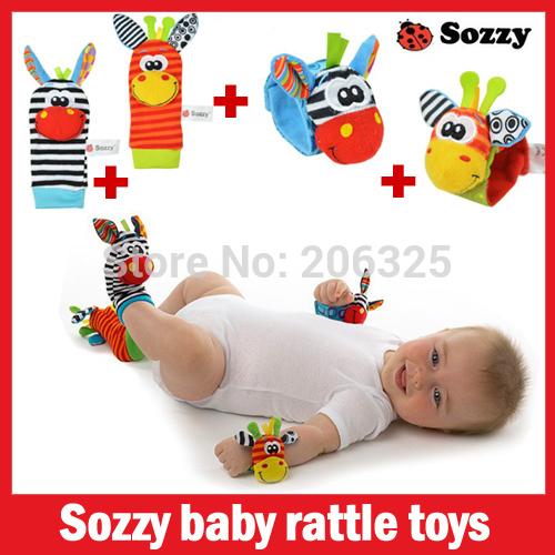 sozzy brinquedos do bebê novo estilo( 4pcs=2 pcs pcs waist+2 meias)/lote, chocalho do bebê brinquedos sozzy jardim bug wrist chocalho e meias pé(China (Mainland))