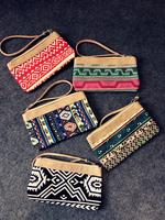 new fashion PU match canvas small wallet bag women Purse Card mobile phone bag