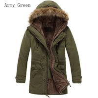Hot 2014 Mens Luxury Faux Fur Long Winter Coat Jacket Hooded Parka Single Breasted Zipper Overcoat MF-5308