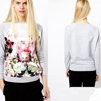 Hot sale Free shipping3D Flower Printed Sweatshirt Hoodies Women Hoody Sport Coat  Casual Pullovers Tracksuits S-XL  LQ8525XGJ
