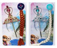 Elsa Anna Ornament Magic Wand Rhinestone Crown Hairpiece Girls Wig Children Party Accessories High Quality