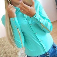 Women Brand Shirts With Zipper  Long Sleeve Square Collar Blouse Plus Size  Slim OL  T Shirts XL 30126