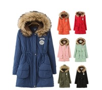 new 2014 women winter coat wadded jacket medium-long plus size 2XL Parka fur collar thickening hood abrigos female snow wear