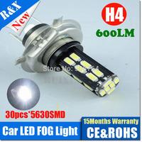 2pcs DC9V-14V H4 5630 30SMD LED car headlight Xenon white 6000K High Low beam car headLights Replaces Halogen & HID Bulbs