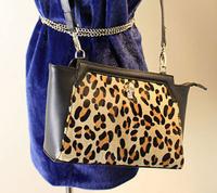 2014 new fashion genuine leather handbag  leopard  hair shoulder bag   rhinestone skull clutch purse small bag