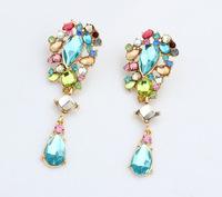 Colorful Rhinestone Teardrop Dangle Earrings New Fashion Jewelry for Women Statement Earrings BJE94009