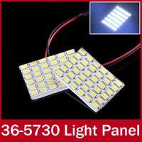 2pcs/lot Interior Dome Reading Light Panel Map Light Bulb Lamp 36 LED 5730 SMD White Light Bulb T10 base and Festoon Connetor