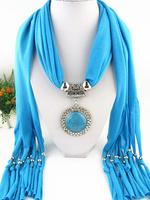 2014 Top Fashion Jewelry Scarves Metal Pendant Tassel Scarf Women Free Fast Shipping