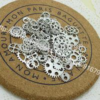 Wholesale Mix 100 pcs Vintage Charms Gear Pendant Antique silver Fit Bracelets Necklace DIY Metal Jewelry Making CLY001