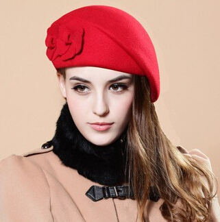 Special Korean new autumn and winter wool hat millinery flowers beret hat lady hat stewardess cap hats chapeu feminino(China (Mainland))
