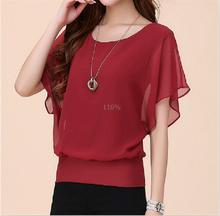 Hot Fashion Blusa Feminina 2015 Summer Casual Plus Size Slim Bat sleeve Chiffon Shirt Women Blouse Blusas Women Tops Clothing(China (Mainland))