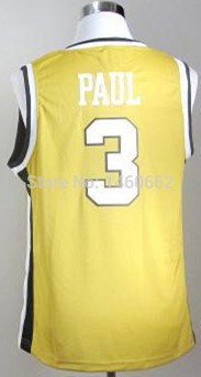 Find 2014 NCAA College Basketball Wake Forest Demon Deacons #3 Chris Paul Golden Jerseys For Your Favorite Team From Our Shop(China (Mainland))