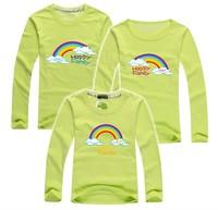 BIG SALE rainbow family t shirt happy family t shirts baby+dad+mum long sleeve tees cotton parentage clothing PANYA DBR24
